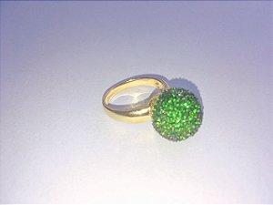 anel bola zirconia verde banho ouro- aro20 semi joias