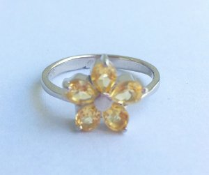 anel flor cristal citrino banho Ródio- aro 21
