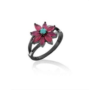anel flor cristal rubi banho Rodio Negro- aro 18