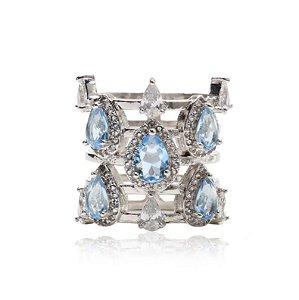 anel cristal london blue banho Ródio- aro 21