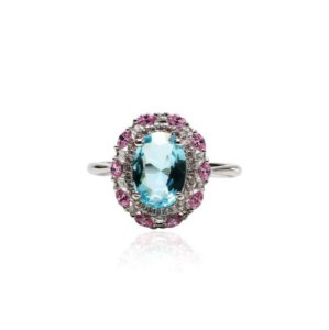 anel cristal topazio/ zirconia rosa R 21