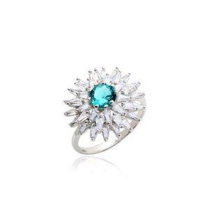 anel girassol cristal paraiba prata 925- aro 19