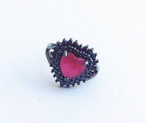 anel coração cristal rubi/zirconia negra -aro  16