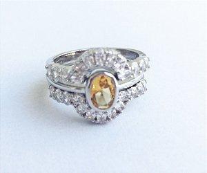 anel de cristal citrino triplo aro 19
