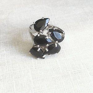 Anel cristal onix 5 folhas em prata 925- aro 19