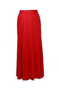 Saia longa em renda malha tricot - Vermelho 20% off