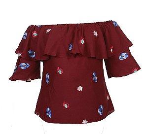 Blusa ciganinha - Bordô
