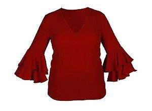 Blusa com babado na manga - decote V - vermelha
