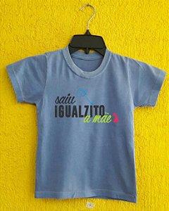 Camiseta Infantil Dia das Mães - Cavalinho de pau azul  - Azul