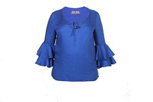 Blusa com babado na manga - Azul