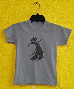 Camiseta Infantil  Gauchinha - Cinza Mescla