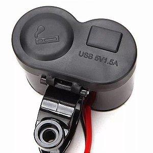 Tomada 12v-5v Usb Para Moto - Carregador Celular/Gps