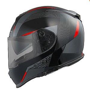 Capacete X11 Revo Preto e Vermelho com Viseira Solar