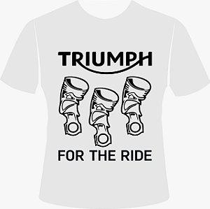 Camiseta Motociclista Branca 3 Pistões
