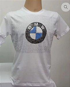 Camiseta Motociclista Branca Logo BMW