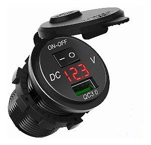 Usb De Embutir Carro Moto Com Voltímetro Turbo Liga/desliga