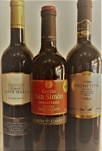 Kit de vinhos tintos 3 unid. R$ 112,00 reais  - 3 países, Portugal, Espanha e Itália