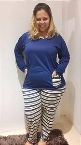 Pijama longo azul marinho com listras