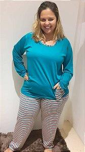 Pijama longo azul petróleo c/listras