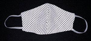Máscara reutilizável poá preto c/branco