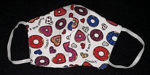 Máscara reutilizável Donuts c/branco