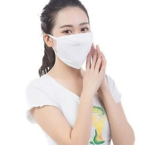 Máscara Tecido Branco Duplo Não Descartável Pacote c/ 10 un (PRONTA ENTREGA)