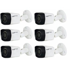 Kit 6 Câmera Bullet Luxvision Infra Ahd Lente 2,8mm 1mp Ip67