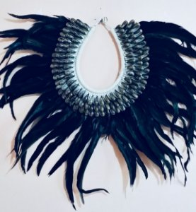 necklace mop black feather olive gray - unid