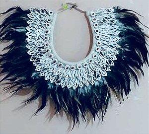 necklace mop feather black/white rhinoclavis vertagus - unid