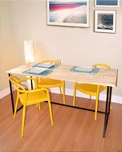 Mesa de Jantar Luzzo Madeira e Ferro Industrial para 4 Cadeiras