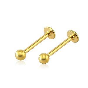 Piercing Labret Aço 316L - Dourado