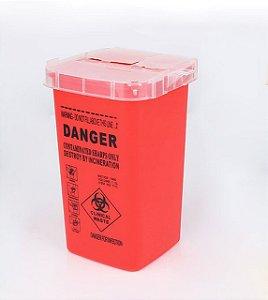 Pote Plástico P/ Descarte De Agulhas Vermelho 1L