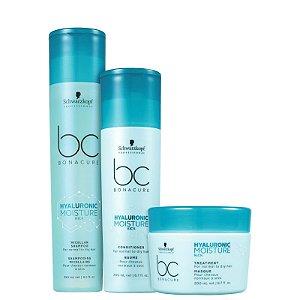 Kit Schwarzkopf BC Bonacure Hyaluronic Moisture Kick - Shampoo + Condicionador + Máscara