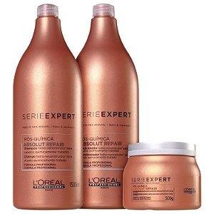 Kit L'Oréal Professionnel Absolut Repair Pós-Química Salão (3 Produtos)