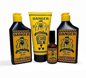 Kit Danger Completo para Cuidar da Barba - Barba Forte (4 Produtos)