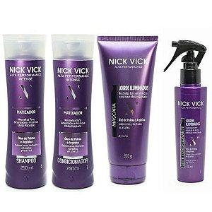 Kit Nick Vick Matizador Shampoo, Condicionador, Máscara e Leite Condicionante (4 Produtos)