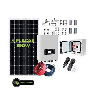 Kit Fotovoltaico 1,56KW - 4PL 390W + 01 INVER 1300W + CNCT