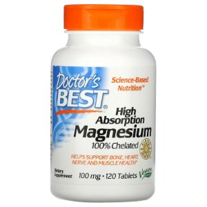 Magnésio Quelato 100mg Doctor's Best 120 Tablets