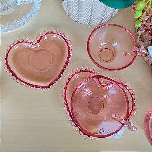 Conjunto de Xícaras para Chá Coração Cristal Rosa Wolff 180ml 4 peças
