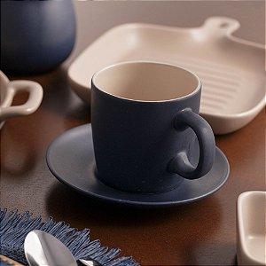 Conjunto de Xícaras para Chá Granilite Azul 200ml 4 peças