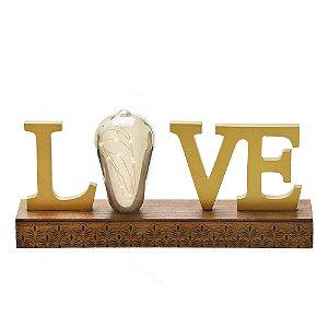 Placa Decorativa Love com Led de Madeira 29cm