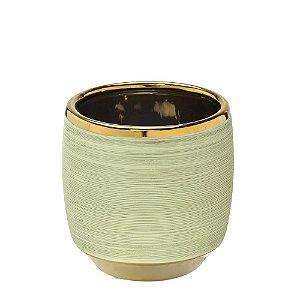 Vaso Decorativo Verde Claro com Dourado 12cm