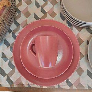 Conjunto de Pratos Lanche Rosa Blush 21cm Color Home 6 peças