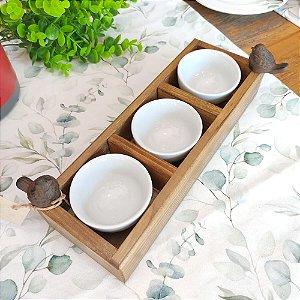 Molheira Base Madeira Passarinho Bowl Cerâmica