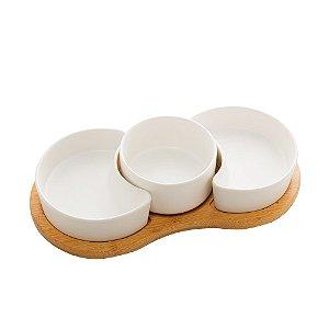 Petisqueira Porcelana Branco Matt Base de Bambu