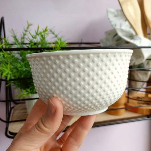 Bowl Porcelana Branca Dots 450ml Jogo c/2