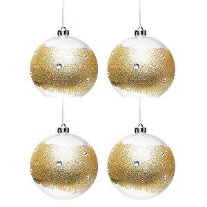 Bola de Natal Transparente Com Glitter Dourado 10 cm 4 Unidades