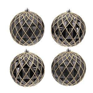 Bola de Natal Preta com Glitter Dourado Losangos 10 cm 4 Unidades