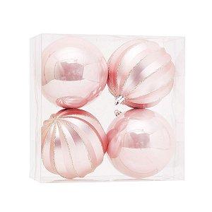 Bola de Natal Rosa Claro Gomos e Lisa 10 cm 4 Unidades