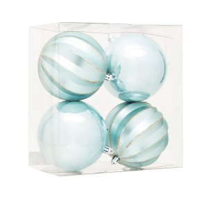 Bola de Natal Azul Claro Gomos e Lisa 10 cm 4 Unidades